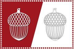 Современный жолудь рождества Игрушка Нового Года для вырезывания лазера также вектор иллюстрации притяжки corel иллюстрация вектора