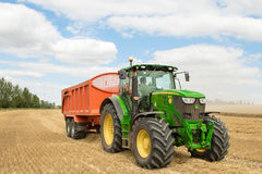 Современный зеленый трактор John Deere Стоковое фото RF