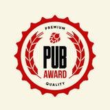 Современный знак логотипа вектора питья пива ремесла для бара, паба, пивоваренного завода или винзавода изолированных на свете Стоковое Изображение