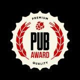 Современный знак логотипа вектора питья пива ремесла для бара, паба, пивоваренного завода или винзавода изолированных на темноте Стоковая Фотография