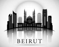 Современный дизайн горизонта города Бейрута Ливан иллюстрация штока