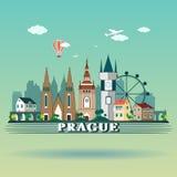 Современный дизайн горизонта города Праги взгляд городка республики cesky чехословакского krumlov средневековый старый Ландшафт П иллюстрация штока