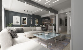 Современный дизайн интерьера живущей комнаты с серыми стенами стоковое фото rf