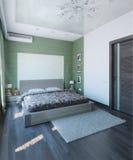 Современный дизайн интерьера спальни, 3d представляет Стоковая Фотография RF