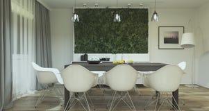 Современный дизайн интерьера столовой с заводами стоковая фотография