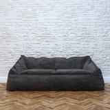 Современный дизайн интерьера с уютной черной софой Стоковые Фото