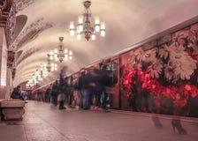 Современный дизайн кабин поезда на станции метро в Москве Стоковая Фотография RF