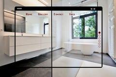 Современный интерфейс сети места для галереи ванная комната стоковое изображение rf