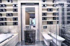 Современный интерьер ванной комнаты в новом доме Стоковое Фото