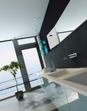 Современный интерьер ванной комнаты дизайна в черном цвете иллюстрация штока
