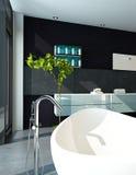 Современный интерьер ванной комнаты дизайна в черном цвете Стоковое фото RF
