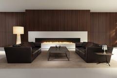 Современный интерьер, живущая комната с камином Стоковое Изображение