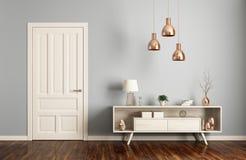 Современный интерьер живущей комнаты с переводом двери 3d иллюстрация вектора