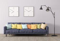 Современный интерьер живущей комнаты с софой и лампа пола 3d представляют бесплатная иллюстрация