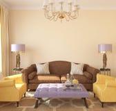 Современный интерьер жить-комнаты иллюстрация вектора
