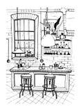 Современный интерьер кафа в стиле просторной квартиры Нарисованная рукой иллюстрация эскиза Стоковое Фото