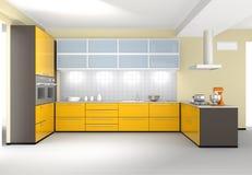 Современный интерьер кухни в желтом цвете Стоковые Фотографии RF