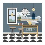 Современный интерьер кухни в стиле просторной квартиры Стоковая Фотография