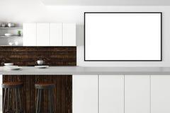 Современный интерьер кухни с пустой афишей иллюстрация вектора