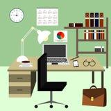 Современный интерьер офиса в плоском стиле иллюстрация штока
