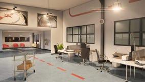 современный интерьер офиса 3D иллюстрация штока