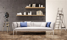 Современный интерьер просторной квартиры живущей комнаты Стоковые Изображения RF