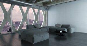 Современный интерьер просторной квартиры спальни с большой двуспальной кроватью Стоковые Фото