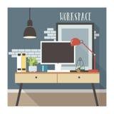 Современный интерьер рабочего места в стиле просторной квартиры Стоковое фото RF