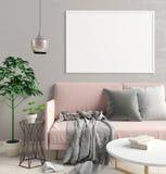 Современный интерьер скандинавского стиля иллюстрация 3d плакат m Стоковая Фотография RF