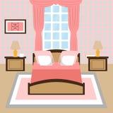 Современный интерьер спальни с окном иллюстрация штока