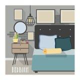 Современный интерьер спальни в стиле просторной квартиры Стоковые Изображения RF