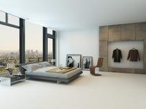 Современный интерьер спальни с огромными окнами Стоковое фото RF