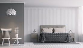 Современный интерьер спальни с черно-белым изображением перевода 3d Стоковые Изображения