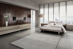 Современный интерьер спальни Стоковое Изображение RF