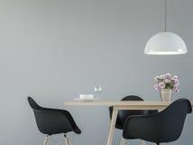 Современный интерьер столовой с черным & белым минимальным изображением перевода стиля 3d Стоковые Фото