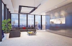 Современный интерьер с большими стеклянными окнами, Стоковое Изображение RF