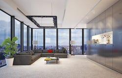 Современный интерьер с большими стеклянными окнами, Стоковая Фотография