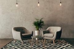 современный интерьер с винтажной мебелью в стиле просторной квартиры с бетонной стеной стоковая фотография rf