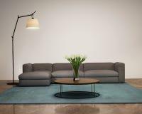 Современный интерьер с камином в живущей комнате Стоковое фото RF