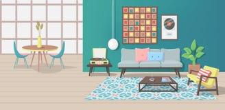 Современный интерьер с мебелью и минималистским дизайном иллюстрация штока