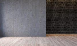 Современный интерьер с панелями стены цемента архитектуры конкретными, кирпичная стена просторной квартиры, конкретный пол Пустая иллюстрация вектора