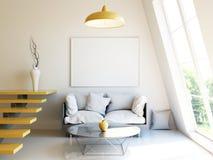 Современный интерьер 3d представляет модель-макет Стоковые Фото