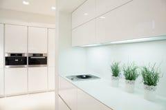 Современный и дорогой интерьер кухни стоковые фотографии rf