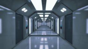 Современный и футуристический коридор космического корабля Стоковая Фотография RF