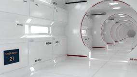 Современный и футуристический коридор космического корабля стоковые изображения rf