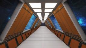 Современный и футуристический коридор космического корабля Стоковые Изображения