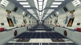 Современный и футуристический коридор космического корабля Стоковые Фотографии RF