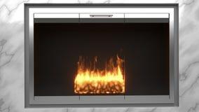 Современный камин сделанный из мрамора с пламенами иллюстрация вектора