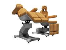 Современный кожаный стул pedicure в сложенном и раскрытом государстве 3d не представляет на белой предпосылке никакую тень иллюстрация вектора