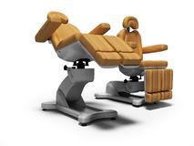 Современный кожаный стул pedicure в сложенном и раскрытом государстве 3d представляет на белой предпосылке с тенью бесплатная иллюстрация
